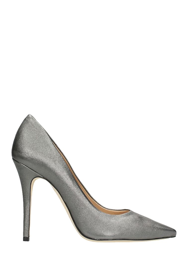 POINTED TOE SILVER WASH LEATHER PUMPS