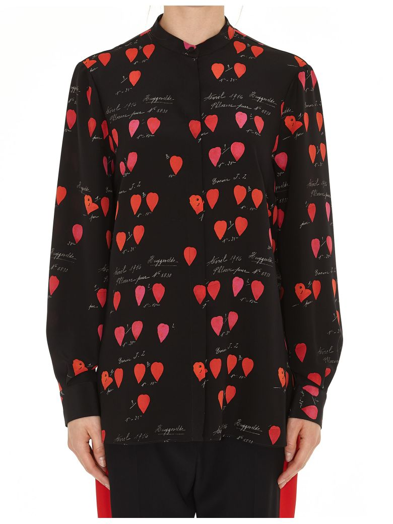Printed Silk Shirt, Black Red Lipstick