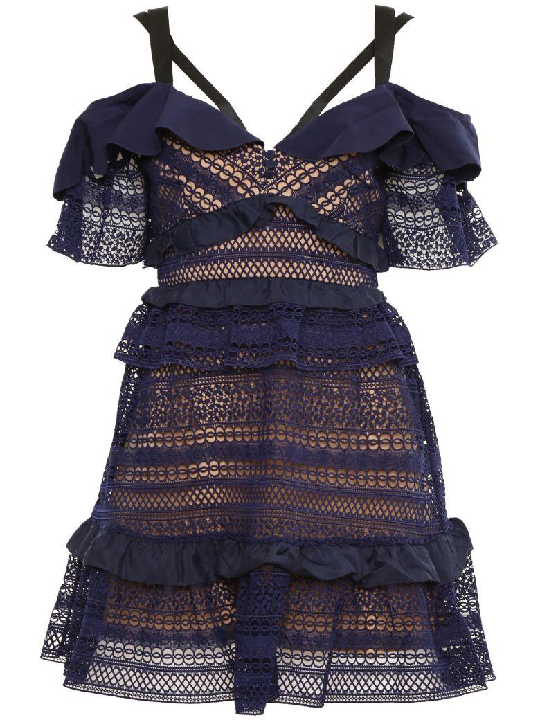 self-portrait Ruffled Lace Dress - NAVY|Blu