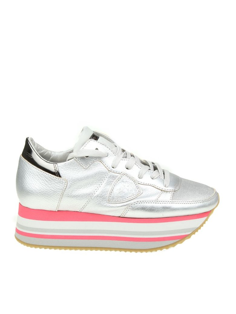 Outlet Big Sale Philippe model Silver Metal Leather Eiffel Sneaker Cheap Browse Big Discount Sale Online UZbr4mm0o