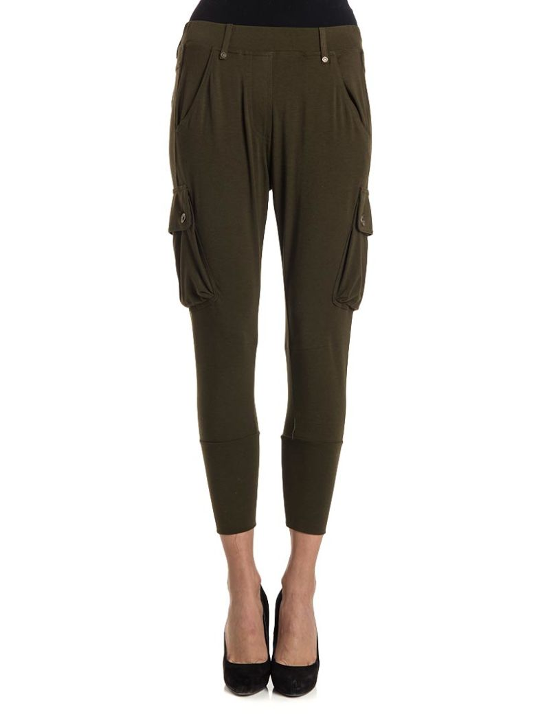 PLEIN SUD JEANIUS Viscose Blend Trousers in Military Green