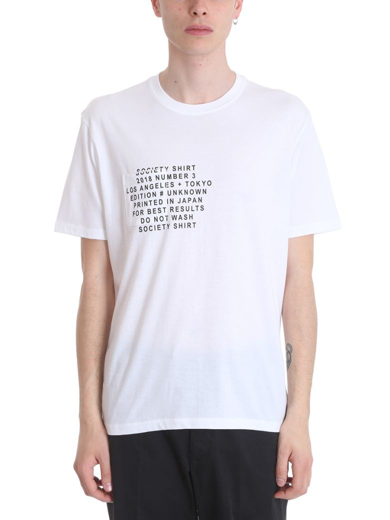 SOCIETY WHITE COTTON T-SHIRT