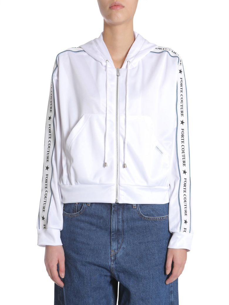 FORTE COUTURE Short Hooded Sweatshirt in White