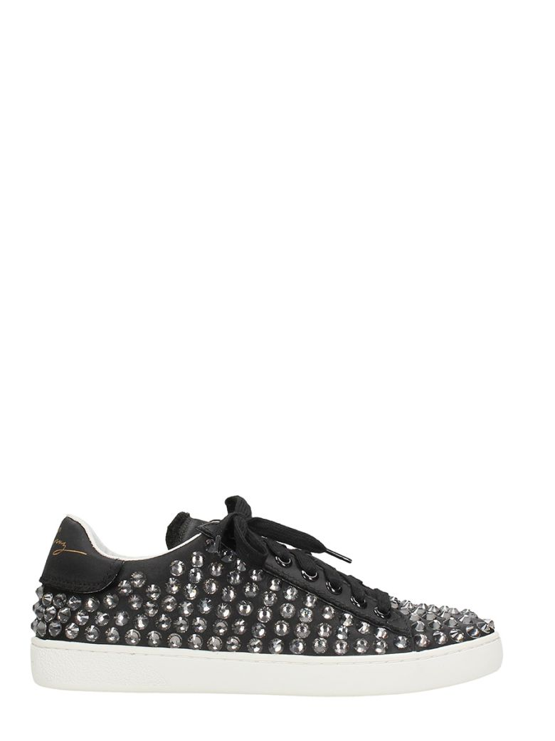 LOLA CRUZ LOTO BLACK SATIN SNEAKERS