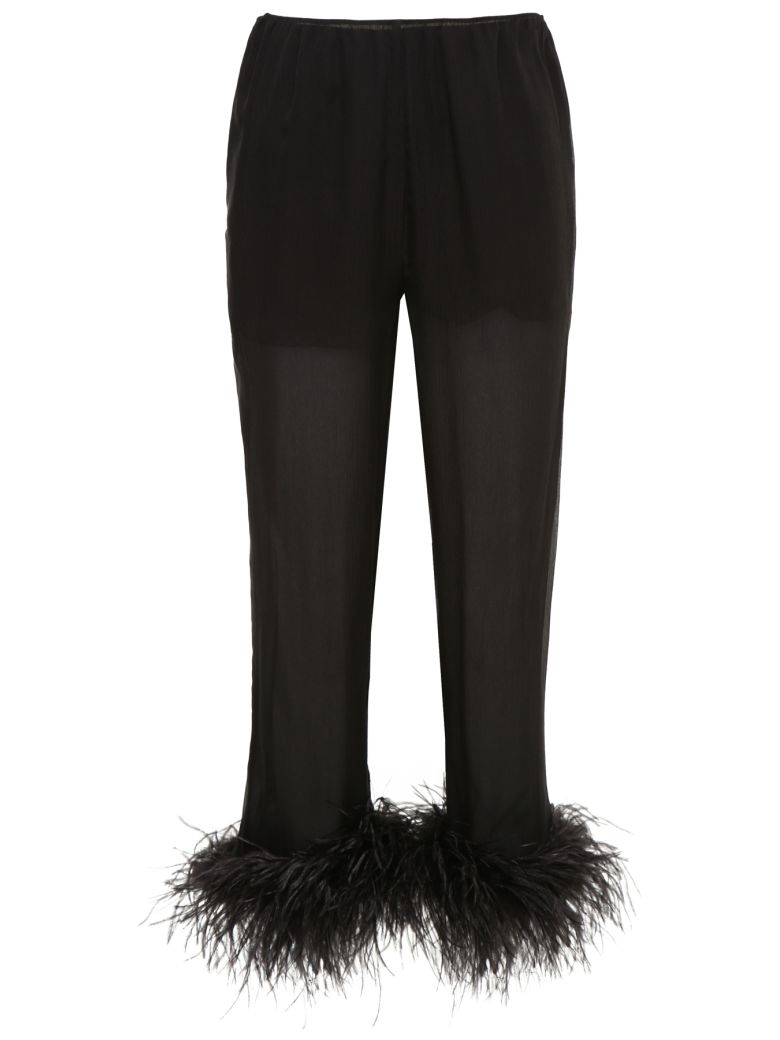 FEATHERED SILK CROPPED TROUSERS