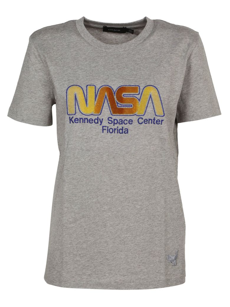 Nasa Embroidered T-Shirt, Grey