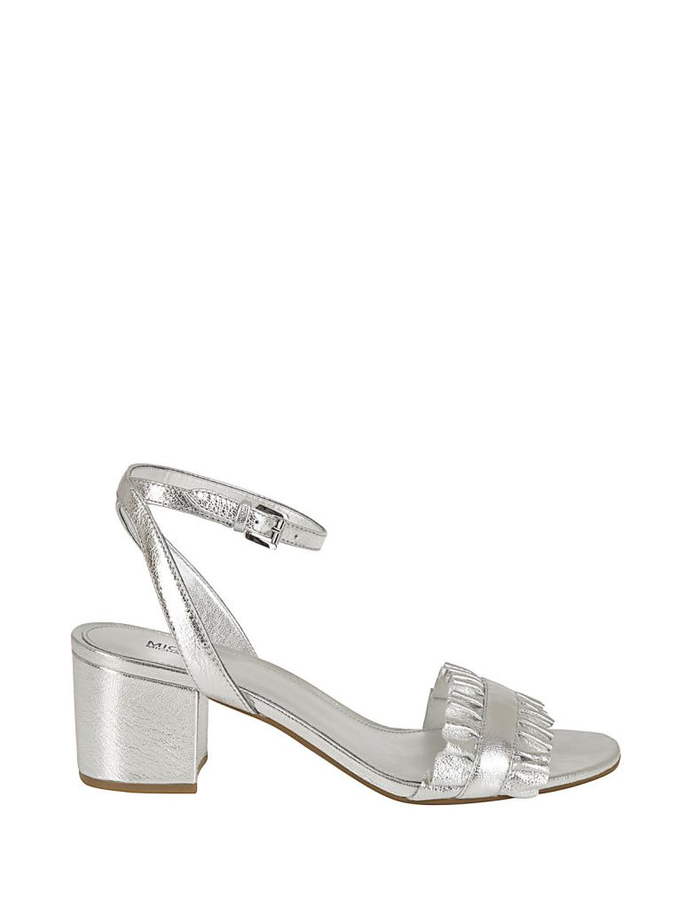 33fd394e59892 Michael Kors Bella Ruffled Mid-Heel Sandals In Silver