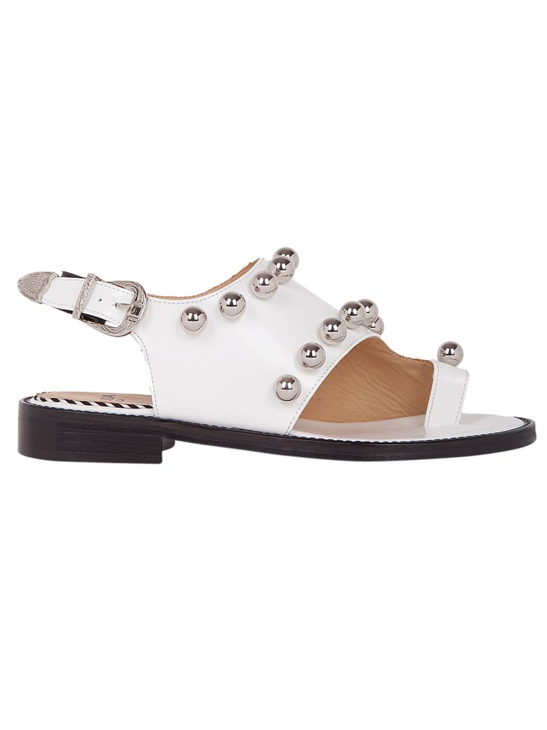Pompom-embellished leather flat sandals Toga Archives hRZIJ