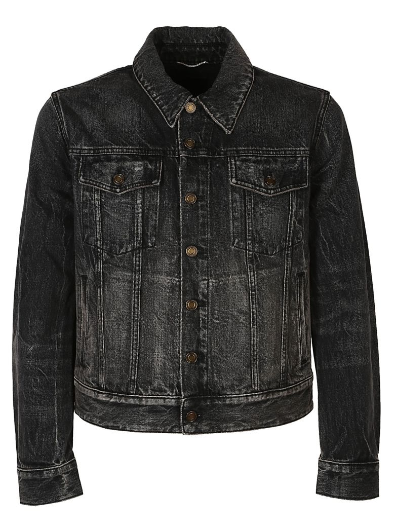 Embroidered Appliqué Denim Jacket, Shadow Deep Dark Black