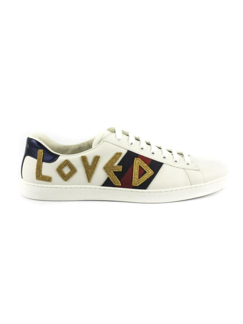 Gucci Ace Embroidered Leather Sneakers - White Size 12 M