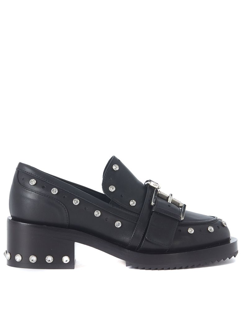 N°21 BLACK LEATHER LOAFERS WITH DOUBLE BUCKLE AND STUDS