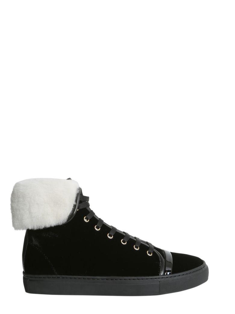LANVIN Shearling-Lined Velvet High-Top Sneakers, Nero