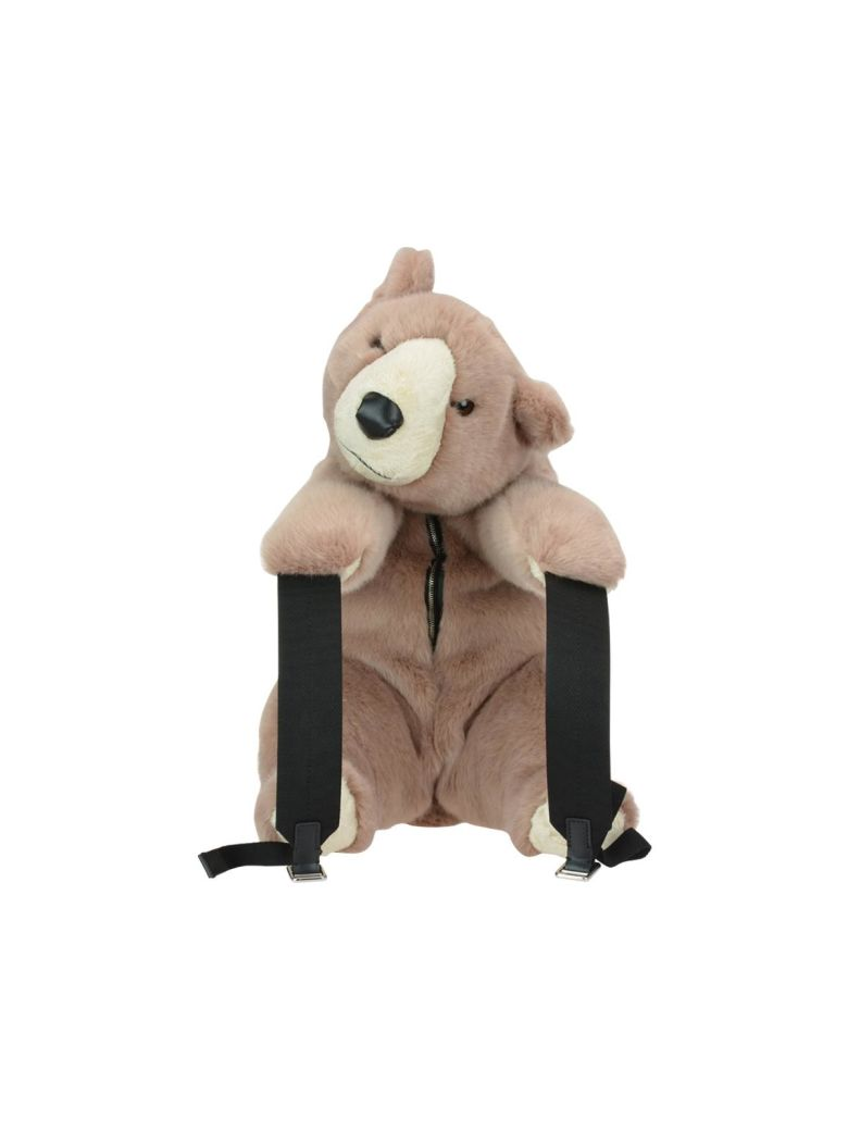 Eco Fur Bear Backpack in Rosa Antico