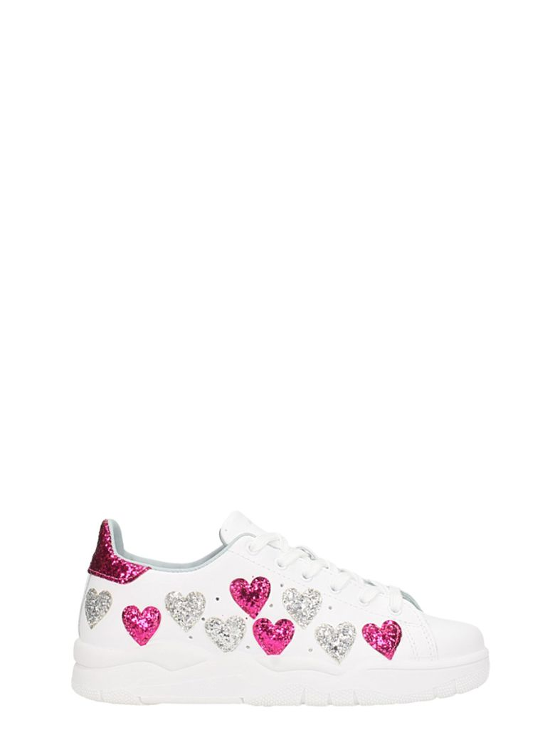 Women'S Leather & Glitter Hearts Low Top Lace Up Sneakers, White