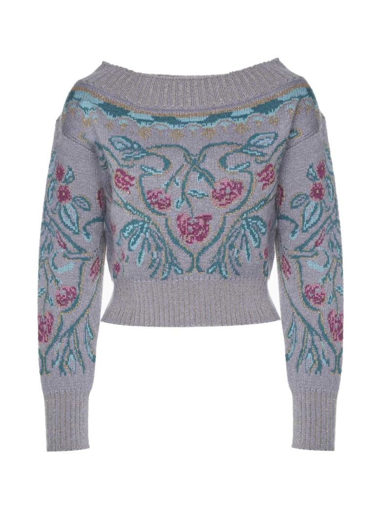 LUREX FLORAL-INTARSIA MOHAIR AND WOOL-BLEND CROP SWEATER