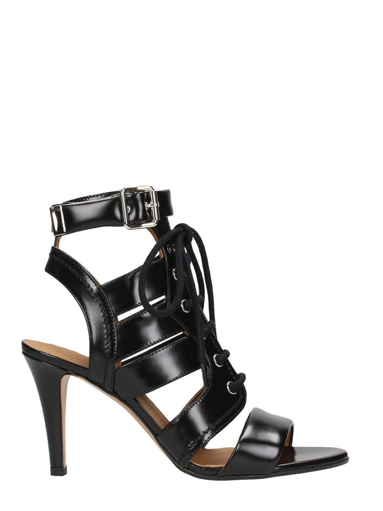BLACK LEATHER LACE UP SANDALS