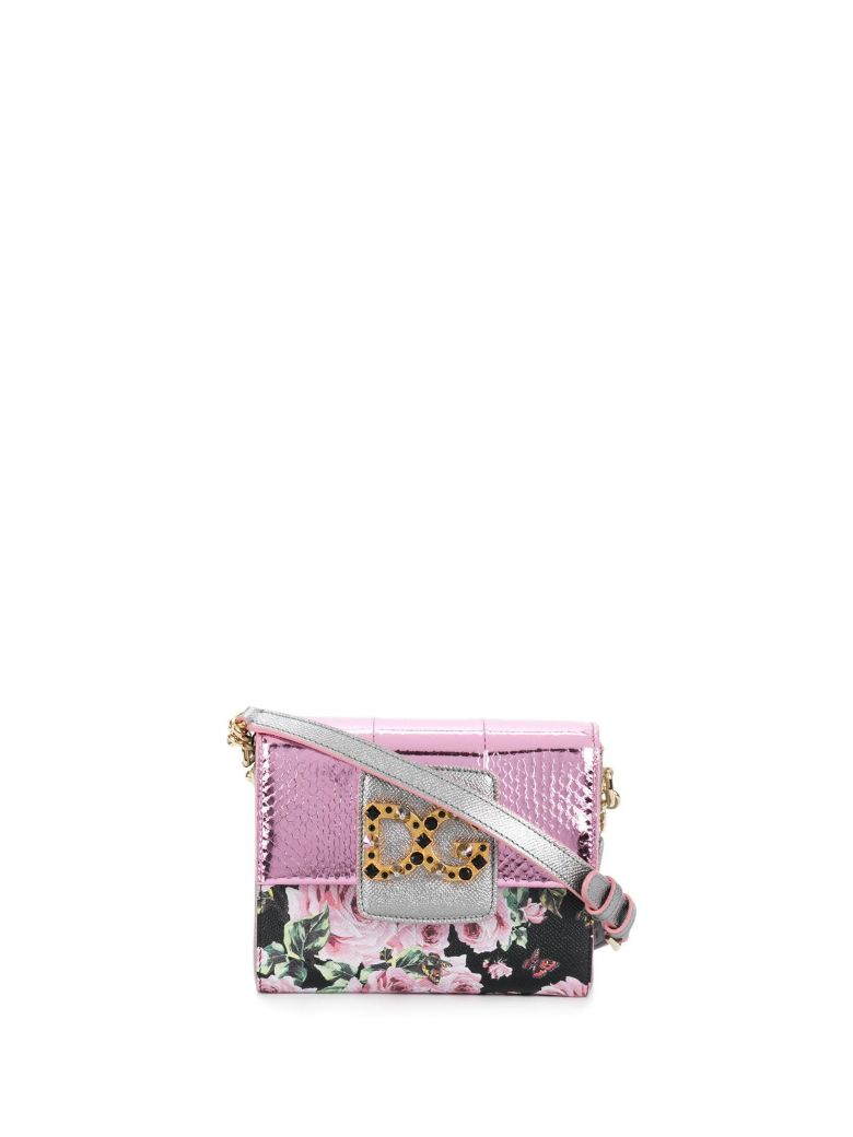 DOLCE & GABBANA CROSSBODY BAG IN PINK AN WHITE DAUPHINE LEATHER