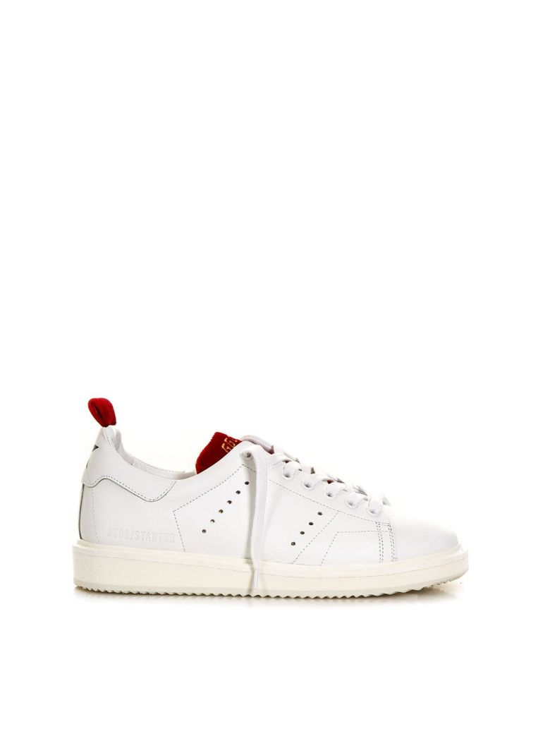 WHITE & RED STARTER SNEAKER IN LEATHER