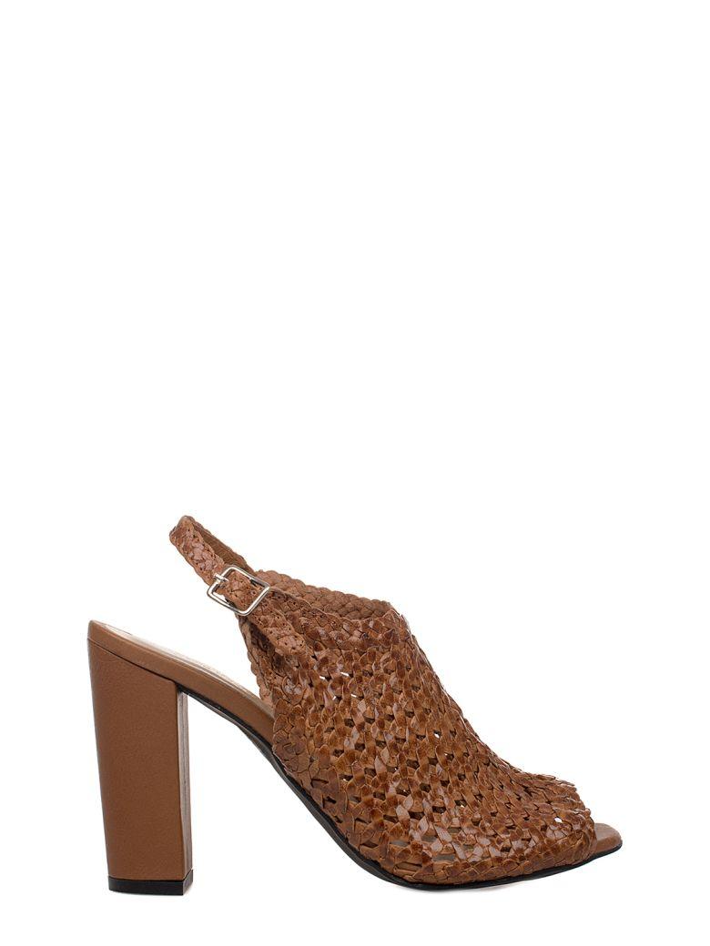 YVES DESFARGE Tan Juliet Leather Heeled Sandal in Brown