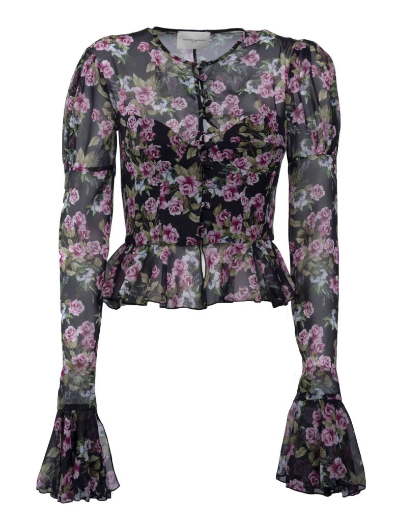 GIUSEPPE DI MORABITO FLORAL FITTED BLOUSE