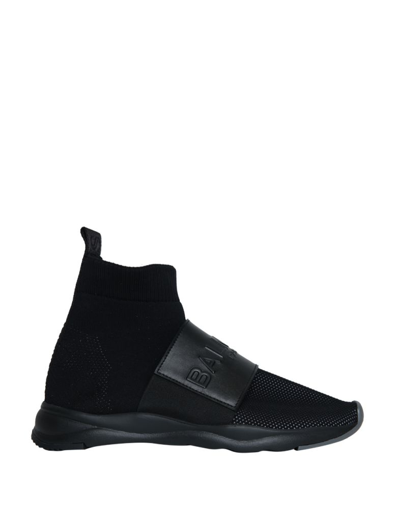 BALMAIN CAMERON 00 HIGH-TOP KNIT SNEAKERS