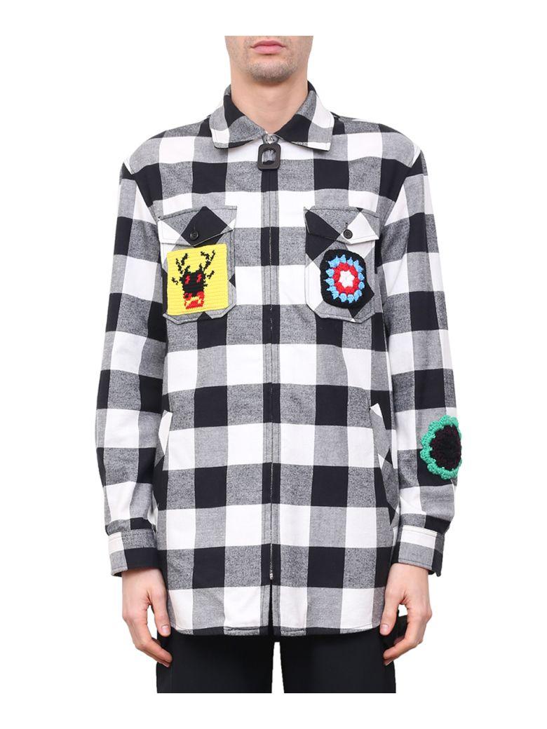 J W Anderson Black White Crochet Patches Lumberjack Shirt