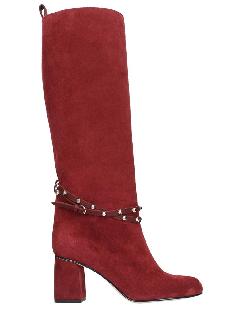 Burgundy Suede Leather Boots, Bordeaux