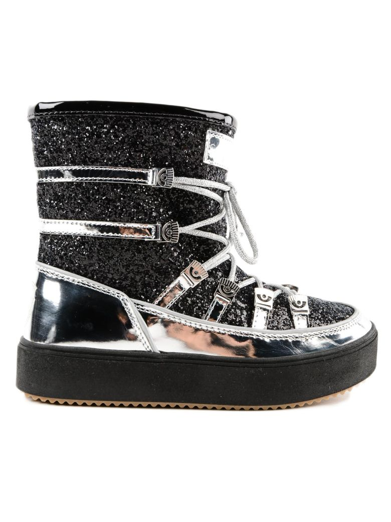 GLITTERED LACE-UP BOOTS