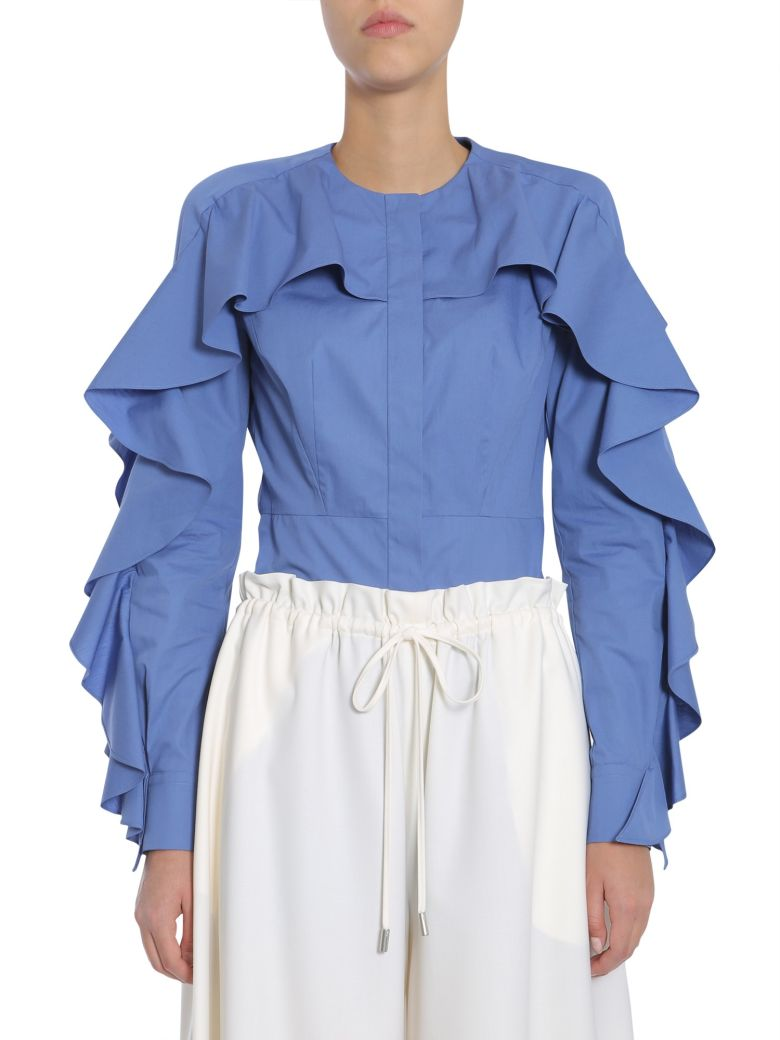 SARA BATTAGLIA Ruffled Blouse in Blue