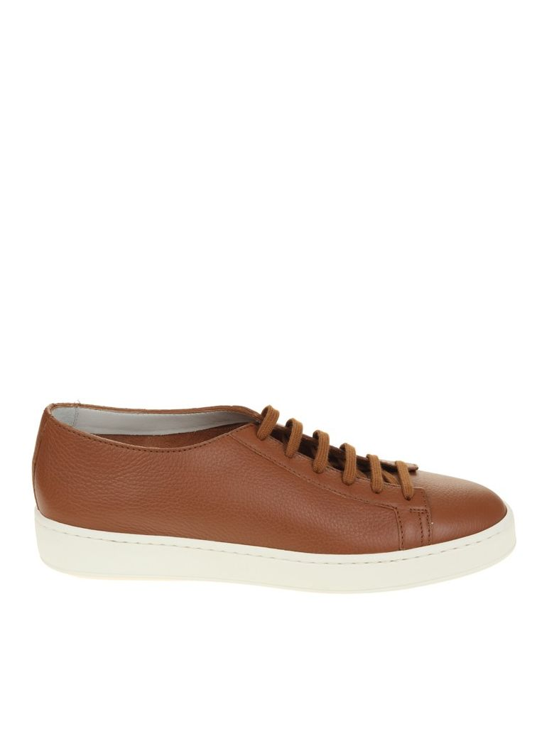 Santoni  LACE UP SNEAKERS BROWN LEATHER