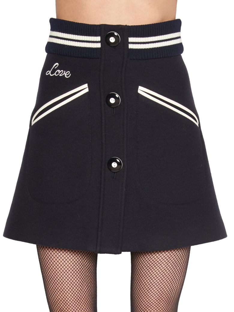 Contrast Trim Button Front Mini Skirt in Black