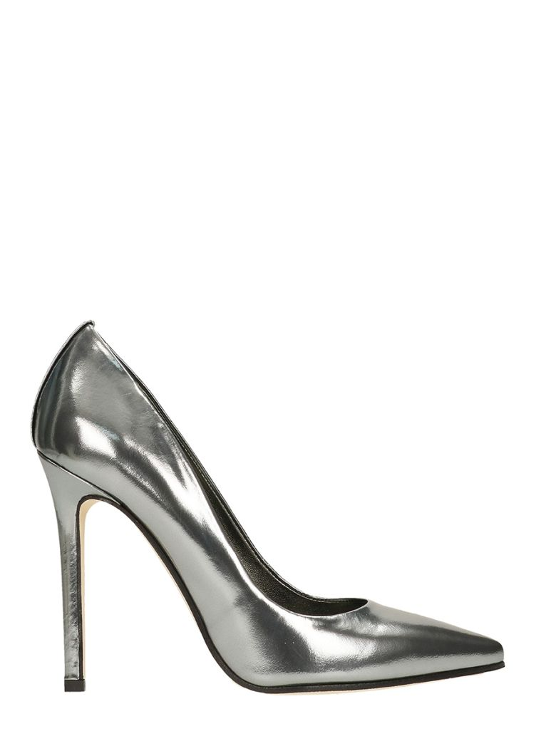METAL SILVER CALF LEATHER PUMPS