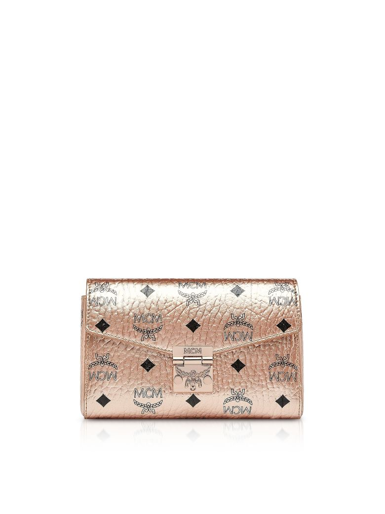 MCM CHAMPAGNE GOLD MILLIE VISETOS SMALL CROSSBODY BAG