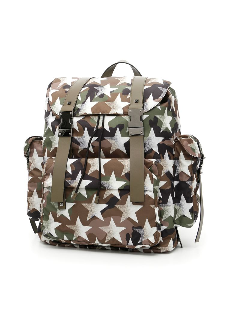 7011f9eef9 Valentino Jacquard Camouflage Backpack In Army Green | ModeSens