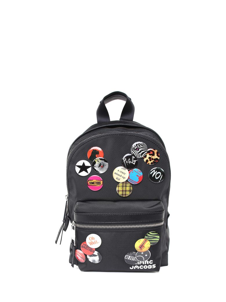 Treck Pack Badge Medium Leather-Trimmed Nylon Backpack in Black
