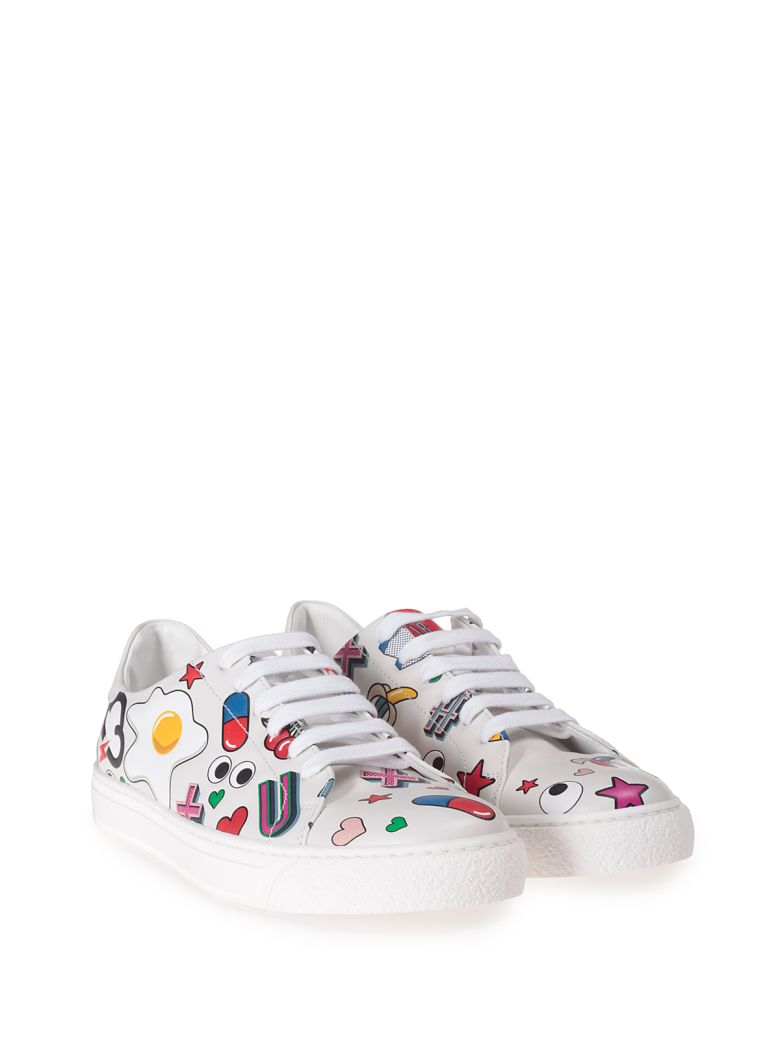 All Over Stickers Leather Low-Top Sneakers, Multi