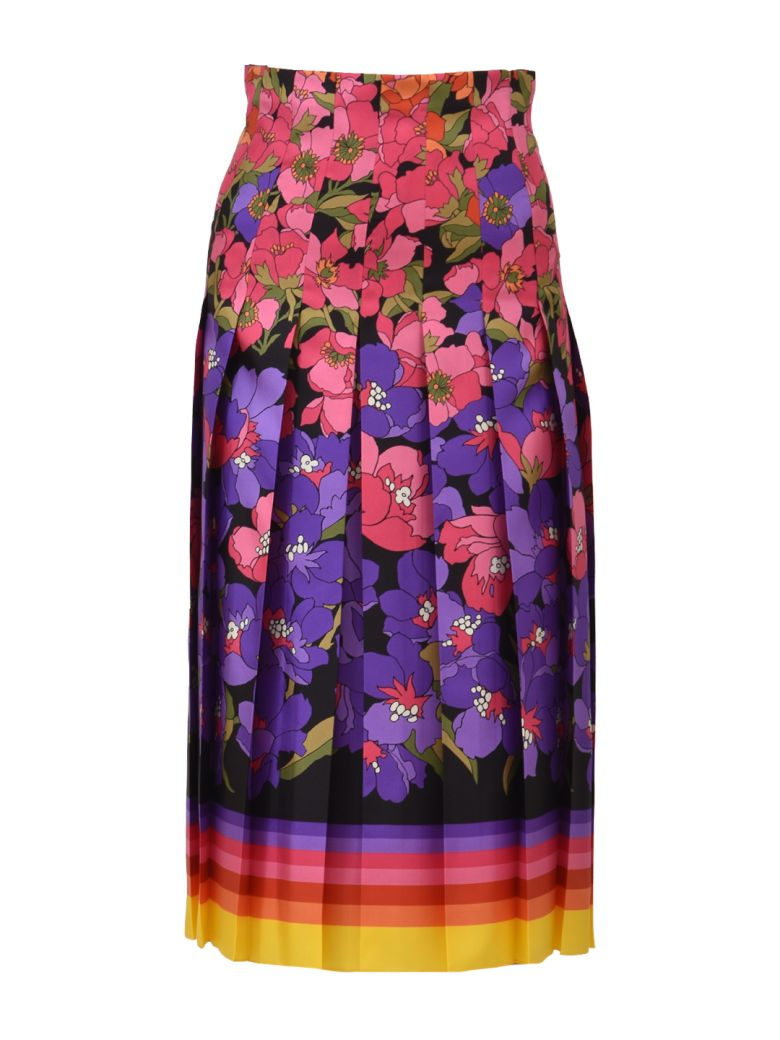 FLOWER SILK SKIRT
