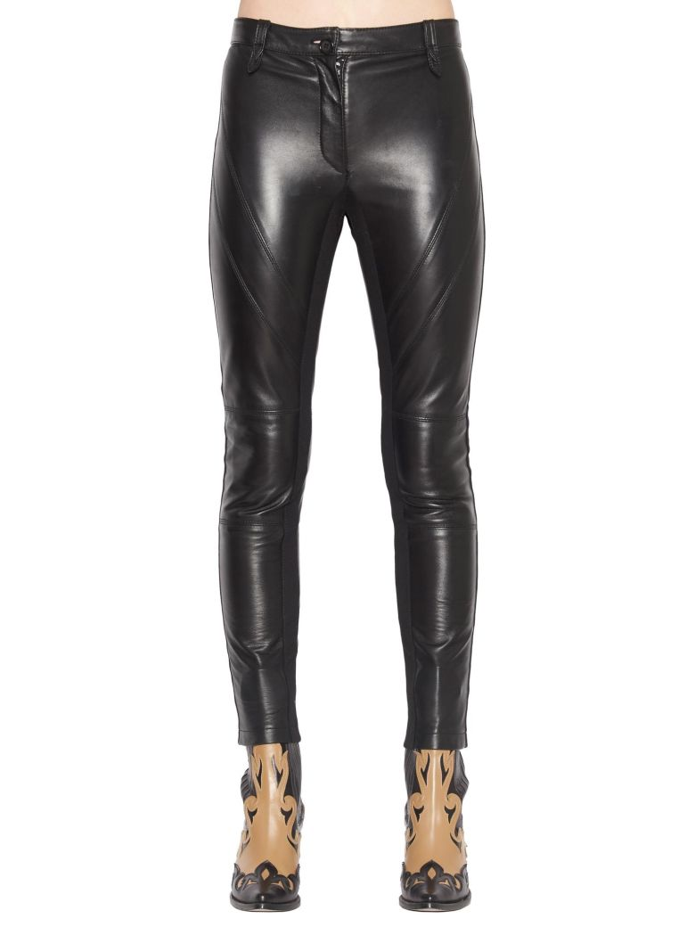 ALBERTA FERRETTI Slim Fit Leather Trousers in Black