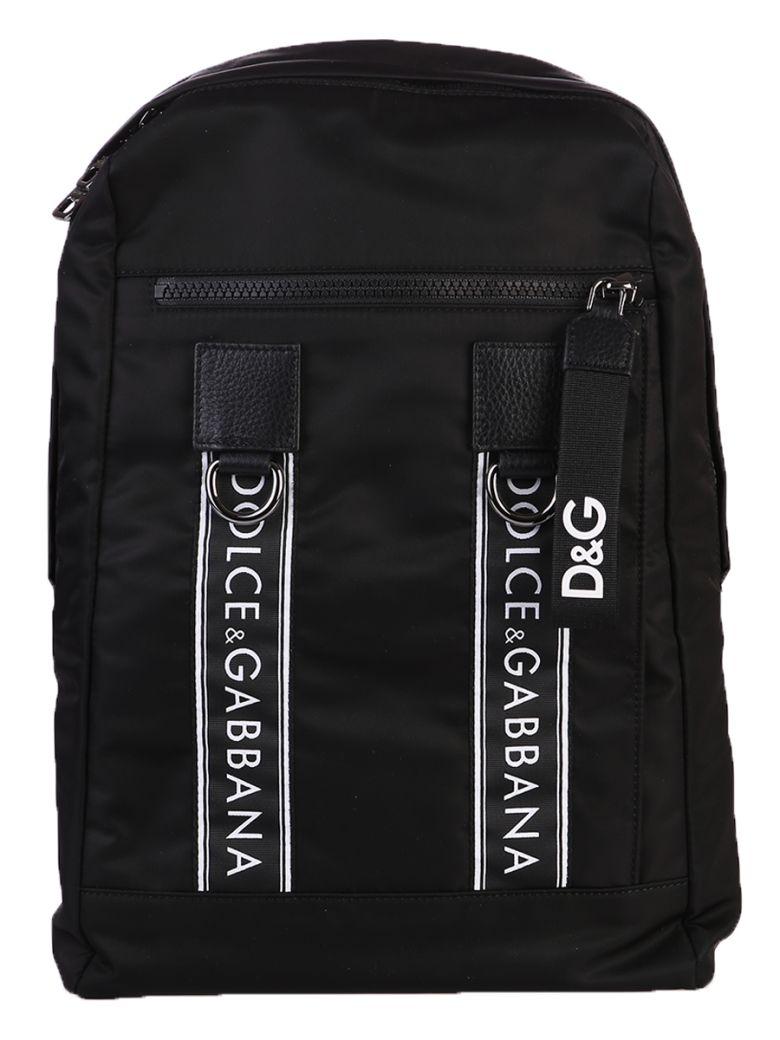 Dolce & Gabbana  BLACK LOGO BANDS BACKPACK