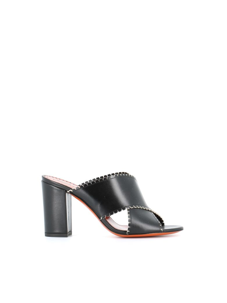 54cdc2691144 Santoni Open Toe Mule In Black
