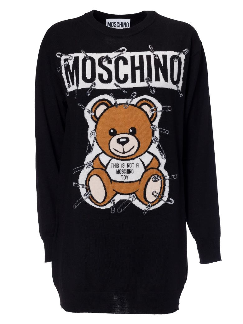 Intarsia Teddy Bear Sweater, Black