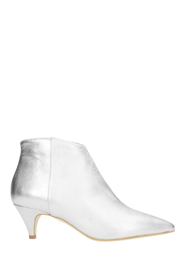 THE SELLER POINTED TOE SILVER CALF LEATHER ANKLE BOOTS