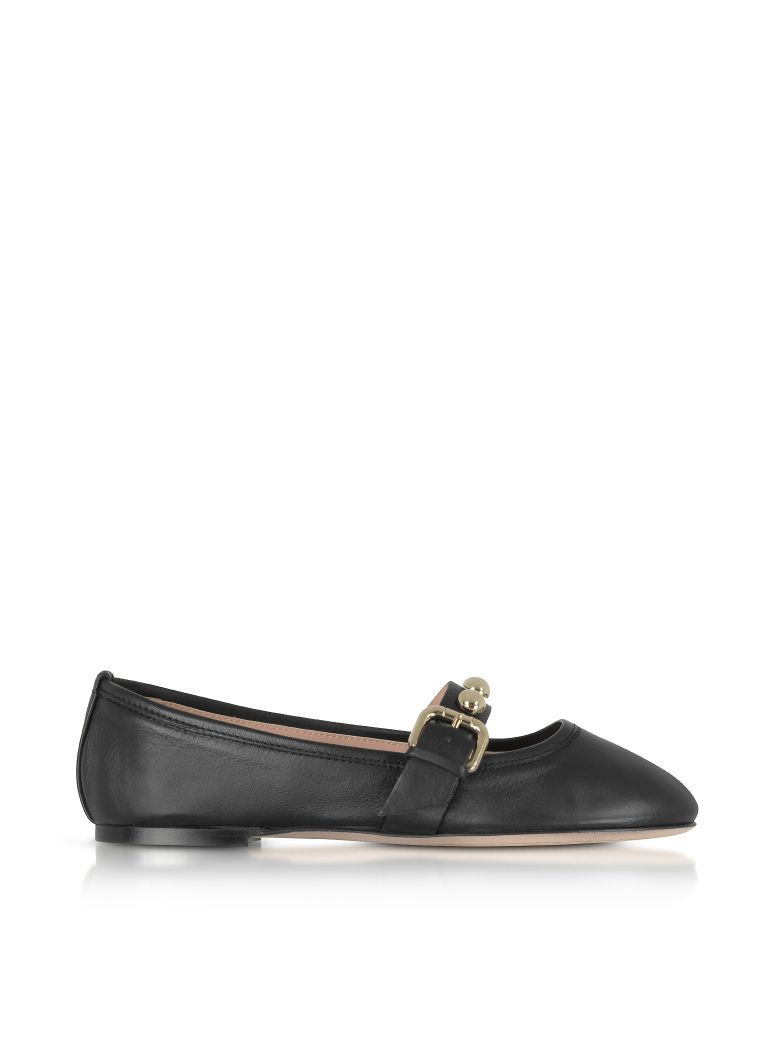 RED Valentino Shoes, Leather Flat Ballerinas w/Buckle and Studs
