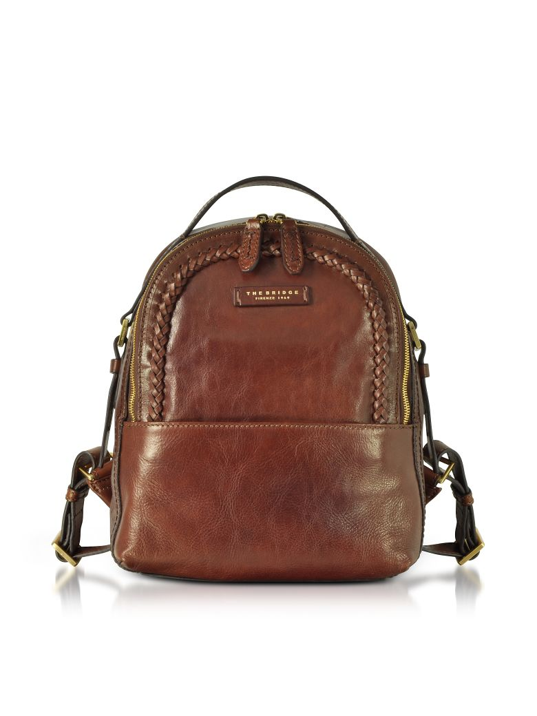 Murakami Leather Backpack W/Woven Trim, Brown