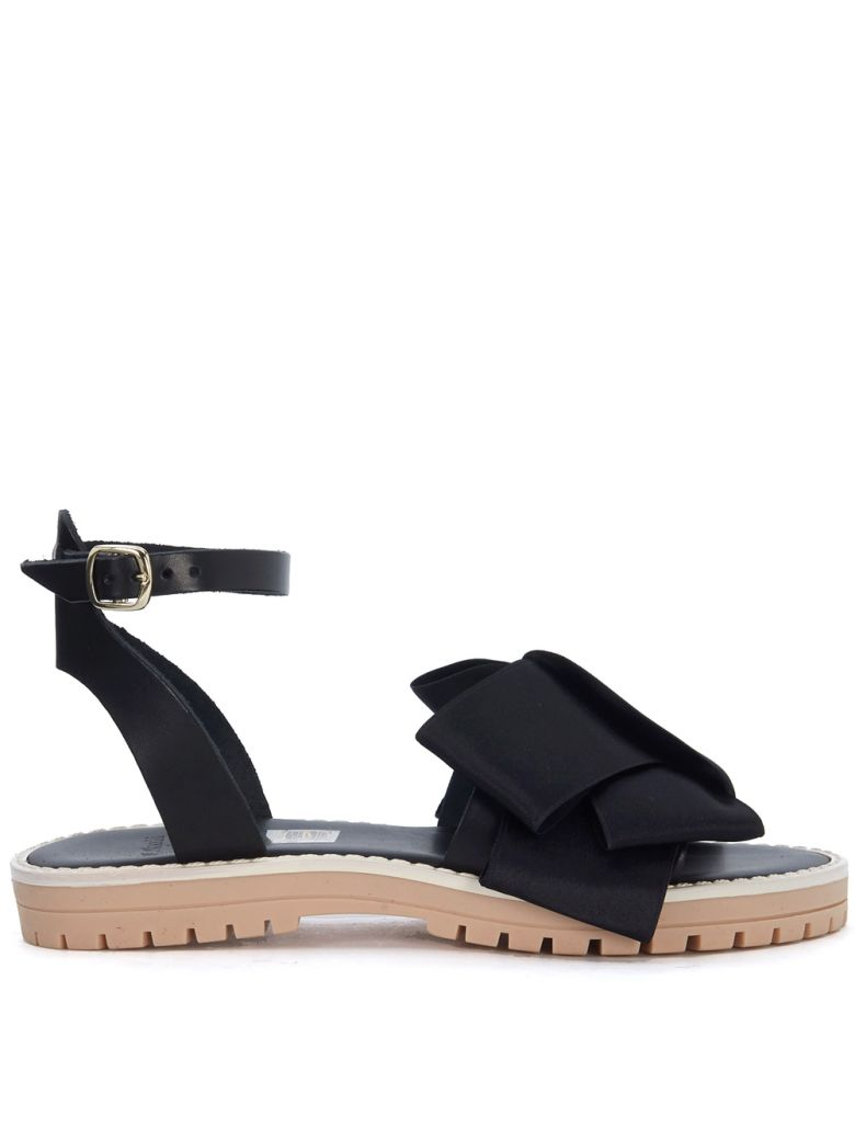 TIPE E TACCHI BLACK LEATHER SANDAL WITH SATIN BOW