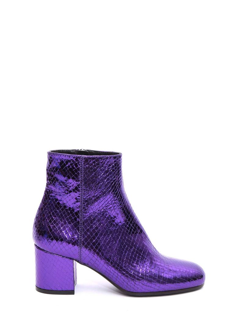 FAKE SNAKE LEATHER ANKLE BOOTS