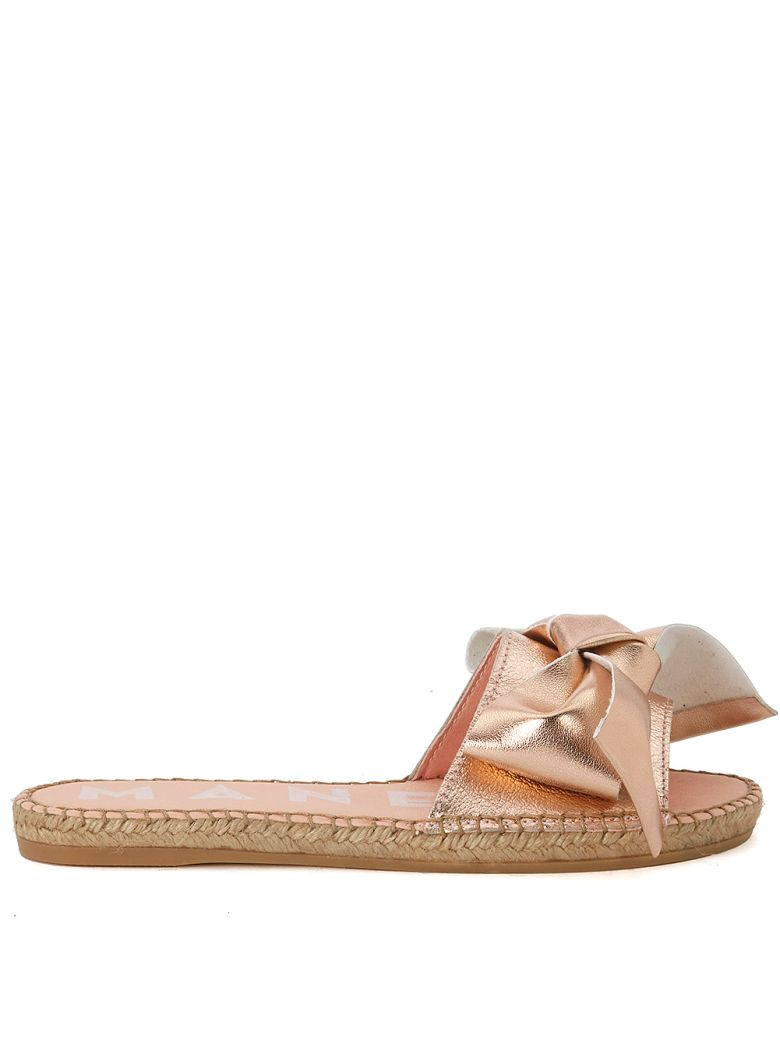 MANEBI MANEBÍ VERSAILLES PINK METAL LEATHER AND JUTE SLIPPERS