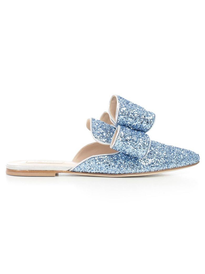 Embellished Crystal Mules in Blue