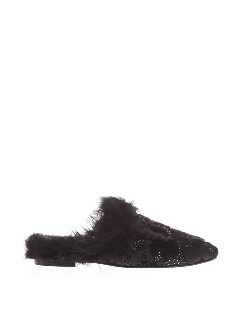 CHENILLE SLIPPERS WITH FUR