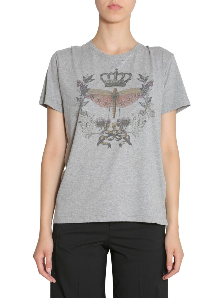 Dragonfly And Crown Printed T-Shirt, Grigio